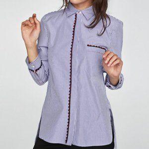 Zara Blue Stripe Shirt w/ Pom-Pom Embellishment S
